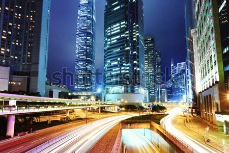 Hong Kong City Night business hemel stad snelweg Stockfoto © leungchopan