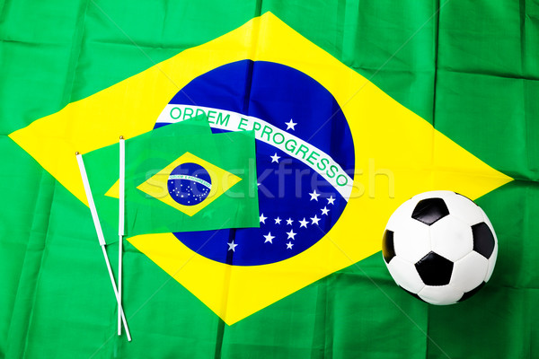 Brazilian flag and football Stock photo © leungchopan