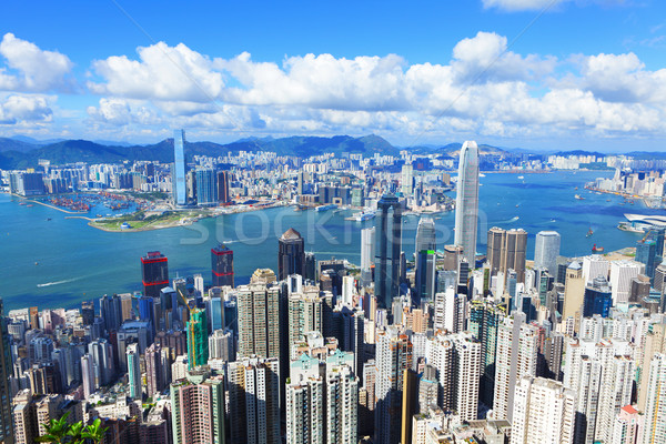 Victoria Harbour, Hong Kong, shot from the Peak Stock photo © leungchopan