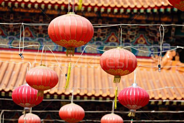赤 ランタン 中国語 寺 デザイン 旅行 ストックフォト © leungchopan