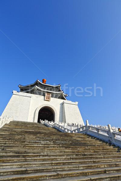 Előcsarnok égbolt épület fal kék kínai Stock fotó © leungchopan