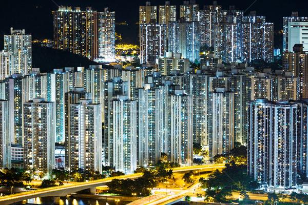 Publicznych obudowa Hongkong noc panoramę Cityscape Zdjęcia stock © leungchopan