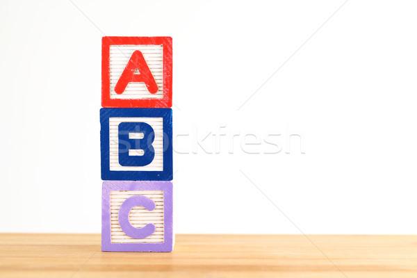 Brinquedo de madeira criança carta brinquedo aprendizagem jogo Foto stock © leungchopan