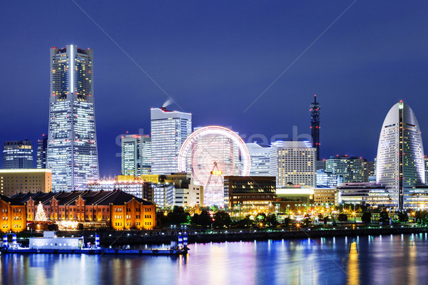 Сток-фото: Иокогама · Skyline · ночь · бизнеса · здании · город
