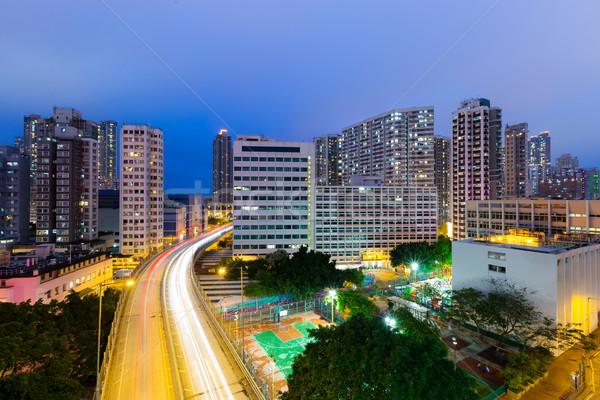 Foto stock: Hong · Kong · noite · negócio · edifício · cidade · luz