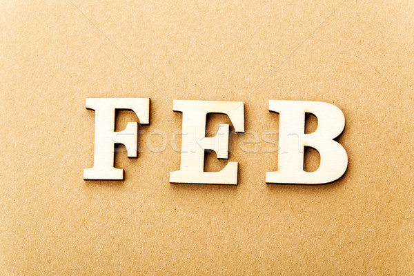 Wooden text for February Stock photo © leungchopan