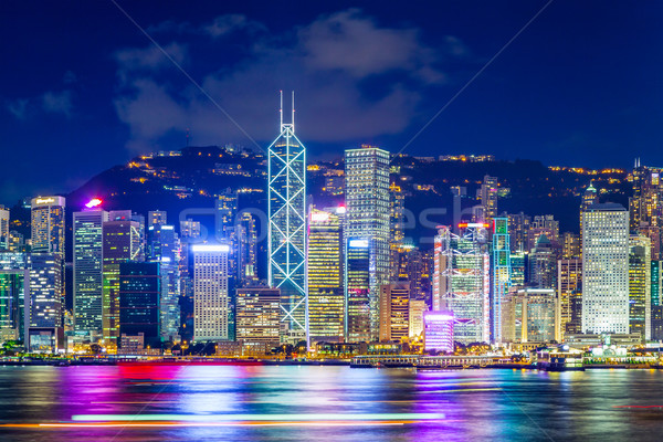Hong Kong beroemd nacht hemel kantoor Stockfoto © leungchopan