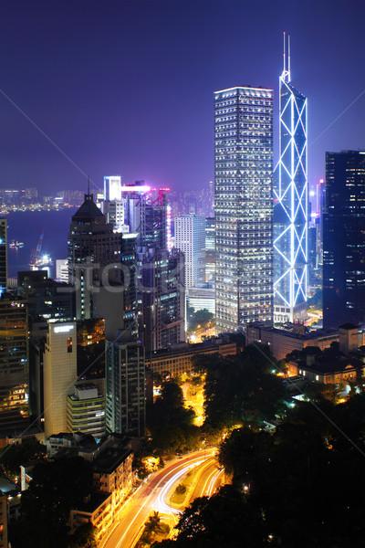 Hong-Kong nuit ciel bâtiment ville paysage Photo stock © leungchopan