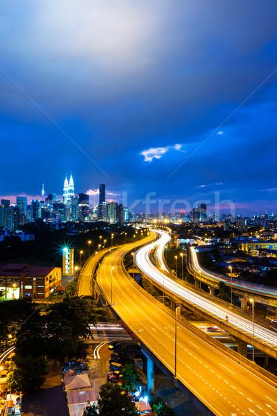 Kuala Lumpur skyline nacht business hemel gebouw Stockfoto © leungchopan