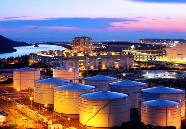 Olie tank nacht industrie industriële lichten Stockfoto © leungchopan