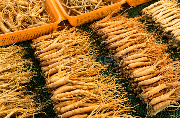Ginseng sell in Korean market Stock photo © leungchopan