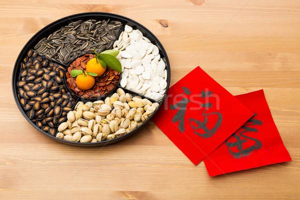 Tradicional ano novo bandeja chinês caligrafia Foto stock © leungchopan