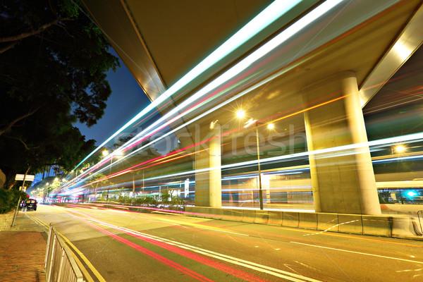 Сток-фото: движения · ночному · городу · моста · городского · ночь · автобус