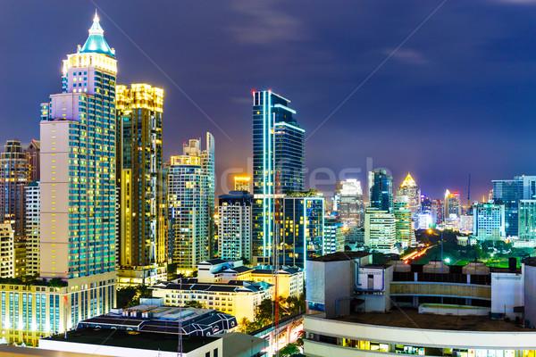 Бангкок Skyline ночь служба здании город Сток-фото © leungchopan