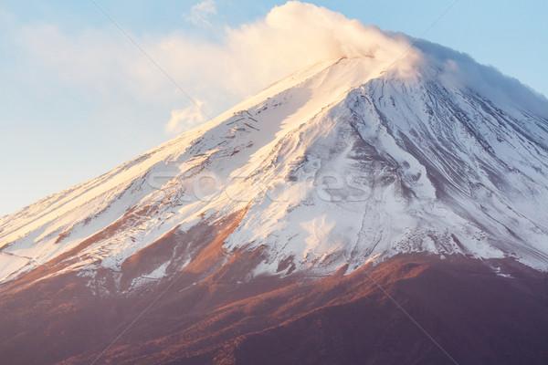 Fuji Świt wygaśnięcia krajobraz śniegu górskich Zdjęcia stock © leungchopan