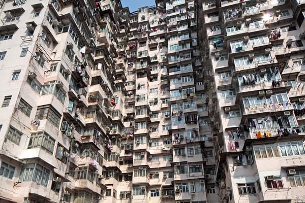 Old residential building in Hong Kong Stock photo © leungchopan