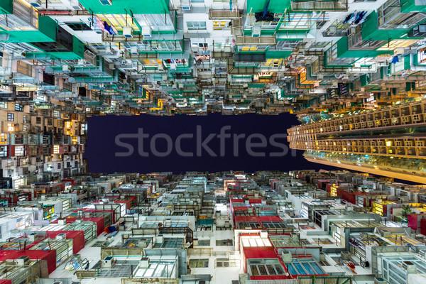 épület Hongkong otthon éjszaka élet retro Stock fotó © leungchopan