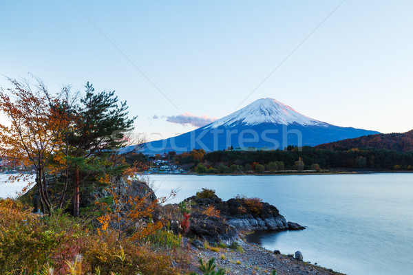 Monte Fuji lago água edifício paisagem azul Foto stock © leungchopan