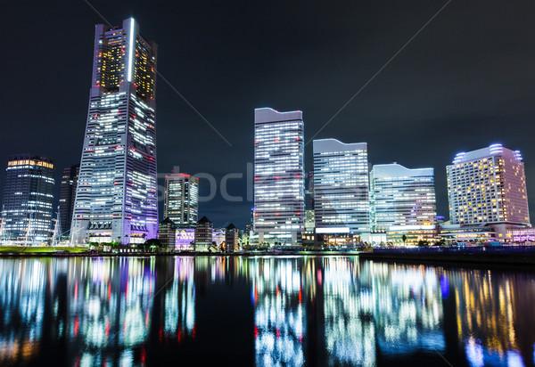 ночь Иокогама бизнеса здании Skyline азиатских Сток-фото © leungchopan