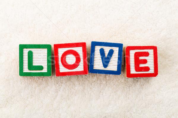 Amore giocattolo di legno legno scuola tavola lettera Foto d'archivio © leungchopan
