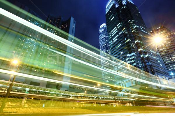 Traffic trail in city at night Stock photo © leungchopan