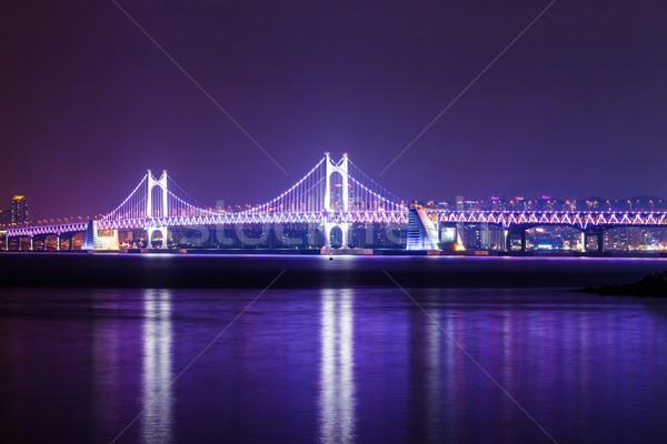 висячий мост ночь воды дороги пейзаж моста Сток-фото © leungchopan