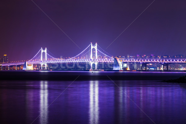 Puente colgante noche agua carretera paisaje puente Foto stock © leungchopan