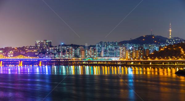 Seul noite água edifício mar Foto stock © leungchopan