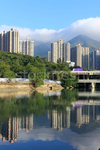 Hong Kong konut nehir gökyüzü çim Bina Stok fotoğraf © leungchopan