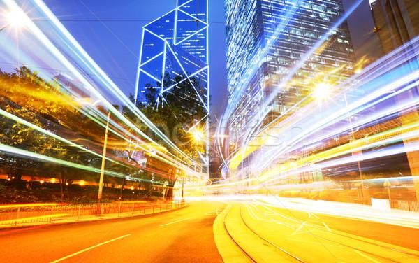 Night traffic light trail Stock photo © leungchopan