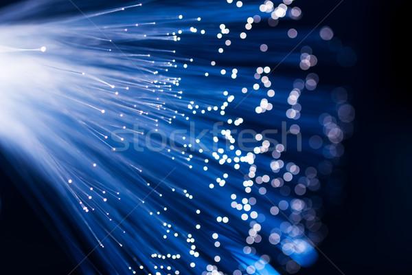 Azul fibra óptica ordenador cable wallpaper Foto stock © leungchopan
