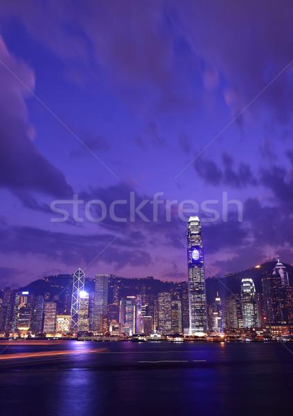Hong Kong skyline at night Stock photo © leungchopan