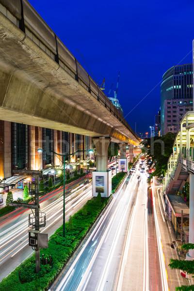 Бангкок движения шоссе ночь дороги здании Сток-фото © leungchopan