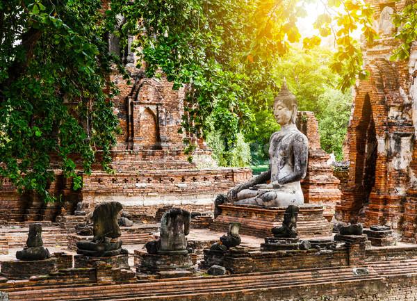 Gebroken buddha baksteen architectuur park godsdienst Stockfoto © leungchopan