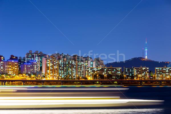 Seul Night City działalności budynku górskich noc Zdjęcia stock © leungchopan