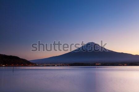 Fuji wieczór śniegu górskich Świt jesienią Zdjęcia stock © leungchopan