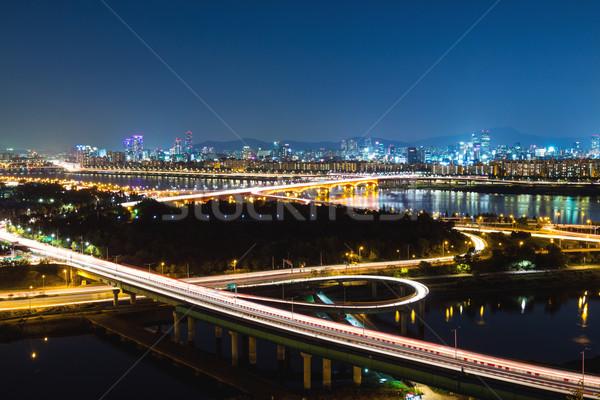 Seoul City Night hemel water stad brug Stockfoto © leungchopan