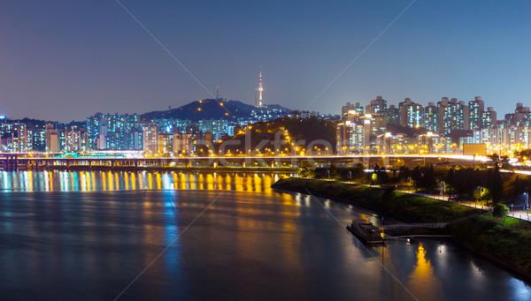 Seul urbano noite da cidade edifício montanha rio Foto stock © leungchopan