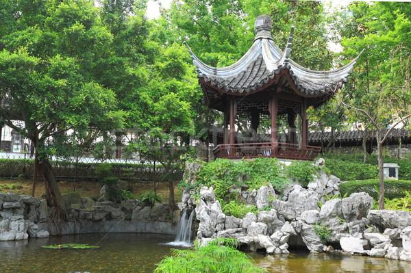 Stock fotó: Kínai · kert · égbolt · virágok · ház · fa