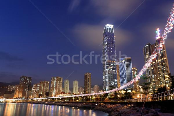Hong Kong noite high-rise edifícios negócio cidade Foto stock © leungchopan