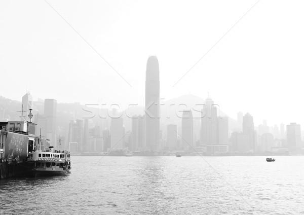 Hongkong nehéz szmog épület város naplemente Stock fotó © leungchopan