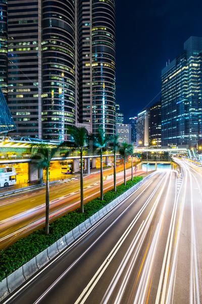 Stok fotoğraf: Hong · Kong · şehir · meşgul · trafik · gece · iş