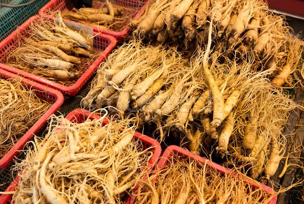 женьшень рынке медицина китайский Азии растительное Сток-фото © leungchopan