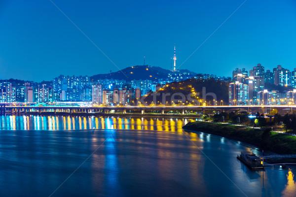 Seul noite edifício mar montanha linha do horizonte Foto stock © leungchopan