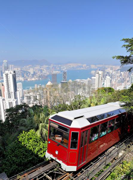 Tram Hong Kong albero montagna treno Foto d'archivio © leungchopan