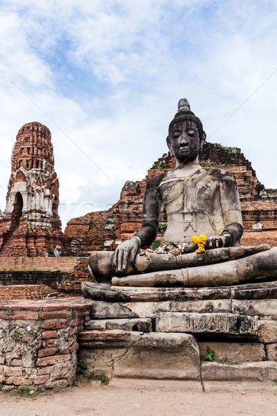 Oude buddha standbeeld hemel landschap Blauw Stockfoto © leungchopan