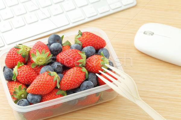 Stockfoto: Bes · lunch · vak · kantoor · laptop