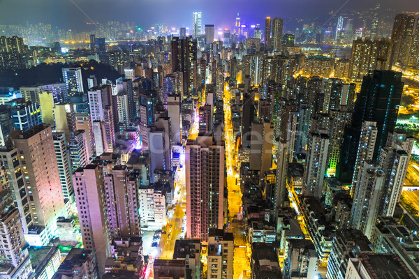 Hong Kong skyline at night Stock photo © leungchopan