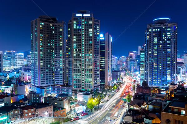Seúl nocturna de la ciudad oficina carretera edificio urbanas Foto stock © leungchopan