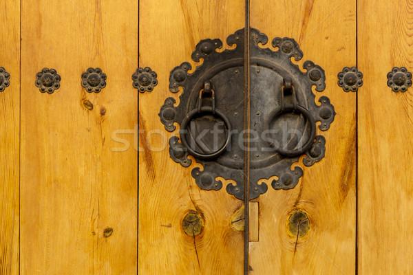 Traditional metallic door knob with wooden door Stock photo © leungchopan